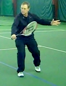 Point of contact - raquet almost parallel to net