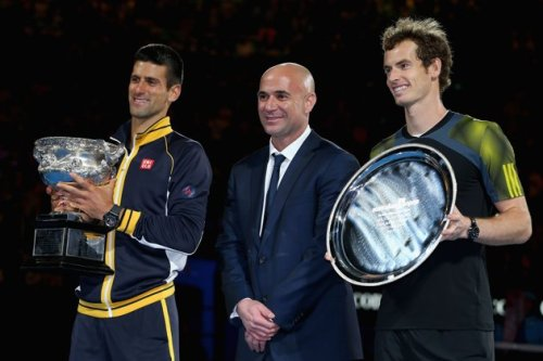 "e trophy presentation4 time champion Andre Agassi with ""Nole"" and Andy Murray at th"