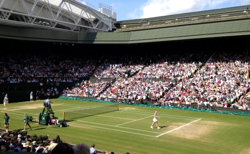 Aggie Radwanska andSabine Lisciki playing in the Ladies Singles semi-final on the Wimbledon centre court. Lisciki won 9-7 in final set!