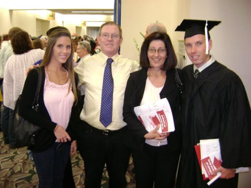Stacey, Des and Brenda with Gareth Evans at his Graduation with an Indiana University degree in May, 2010