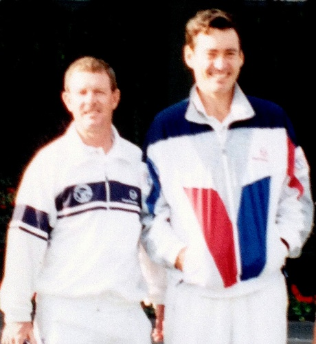 Des with his step-brother Colin Dowdeswell in London in 1988. Colin was an ATP touring pro and Wimbledon doubles finalist in 1975