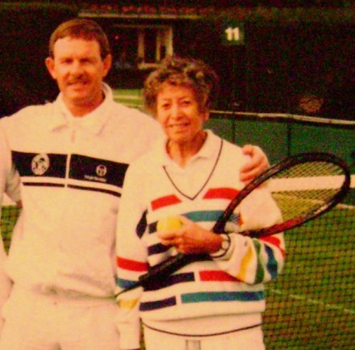 Des with his step-mother Sheila Evans - legendary tennis coach and former Wimbledon player