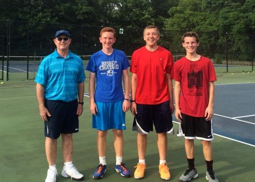 Coach Des with the 3 Sams in the high school group - Sam the Kline Man, Sam the Sham and Sam the Man!