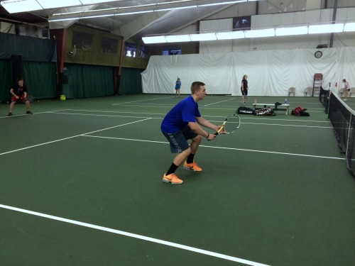 Sam Luke of Bishop Chatard prepares to play a backhand volley