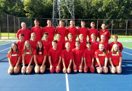 New Palestine High School Boys Tennis Team with Coach Des Evans and Assistant Coach Craig Tammen