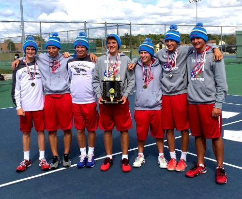The Dragon Varsity team with the Hancock County Championship trophy at Mt Vernon, Fortville.