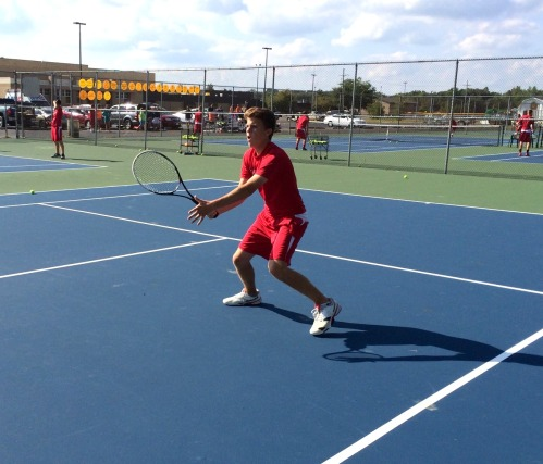 Playing at No 1 Doubles Josh McKinney has been effective at the net
