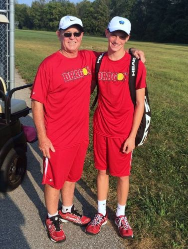 Coach Des with No 2 singles Matthew True after he extended his record to to 7 and 1 against Shelbyville