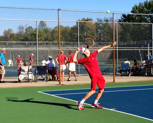 Dedicated freshman Matthew True has worked very hard to improve his service motion and to develop a 2nd serve