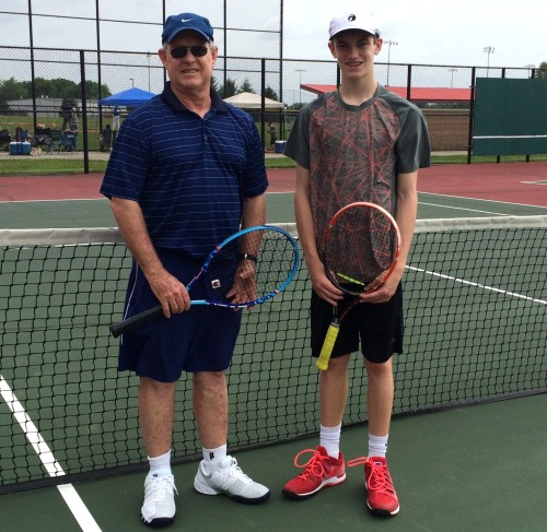 Coach Des Evans with promising high school player Matthew True